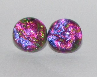 Pink and Purple Dichroic Glass Post Earrings