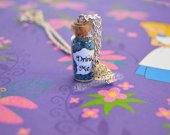 Alice in Wonderland Drink Me Bottle Necklace with a Mushroom Charm, Alice Necklace, Alice Cosplay Disney Bound, by Life is the Bubbles