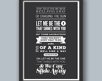 Slide Away Poster. Oasis. Music, Lyrics, Song, Quote, Type, Typography, Design.