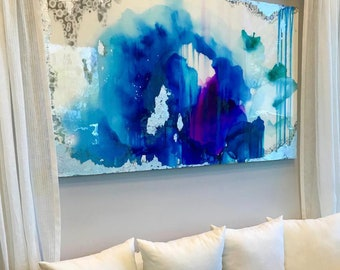 """Sold! Acrylic Abstract Art Large Canvas Painting Silver, Blue Watercolor Ombre Glitter with Glass and Resin Coat 36"""" x 48"""" real silver leaf"""