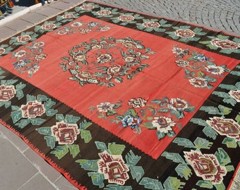 8'7'' x 11'4'' Anatolia Turkish Kilim Rug, Hand Woven Flat Weave Wool Large Area Rug 104'' x 137'' FREE Shipping to USA