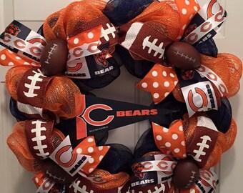Chicago Bears Wreath, Chicago Bears, NFL Wreath, Deco Mesh Wreath, Bears Decor, Bears Wreath, football ribbon, Chicago Bears decor, any team