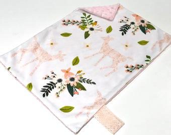 Pink Lace Deer Baby Girl MINKY Lovey Blanket, MINI Minky Baby Blanket, Taggie Blanket, Pink Floral Lovey Baby Blanket, Baby Shower Gift