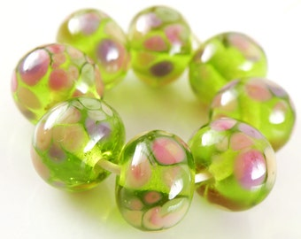 Cherry Blossoms Made to Order SRA Lampwork Handmade Artisan Glass Donut/Round Beads Set of 8 8x12mm