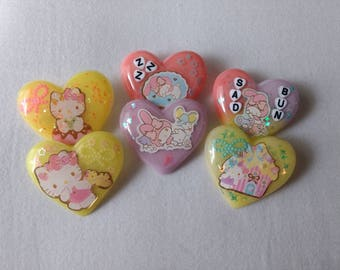 Hello Kitty/My Melody Sticker Fairy Kei Resin Heart Pins for Backpack/Purse/Clothes