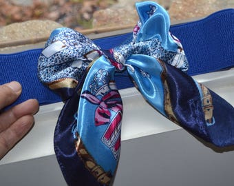 Bow cinch belt ,Wide elastic stretch corset belt, cinch belt with big bow, Dark blue belt