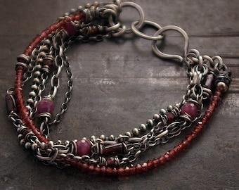 January Birthstone Garnet Ruby raw silver bracelets • oxidised silver • Valentine's gift for her multi link