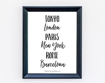 Fashion Capitals - Wanderlust Print - Typography Print - Travel Poster - Minimalist Poster - Black and White