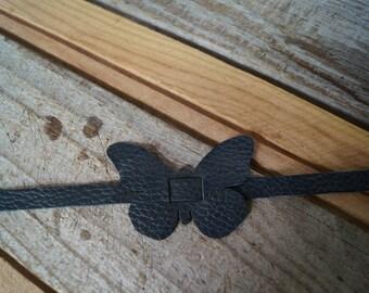 Blue butterfly leather bracelet