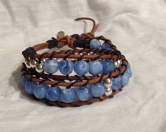 Double Wrap Brown Leather Ladder  Bracelet with Blue & Silver Beads