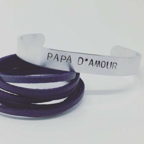 Personalized men's bracelet father's day-custom Creation - Personalized Bracelet - Bangle cuff silver matte