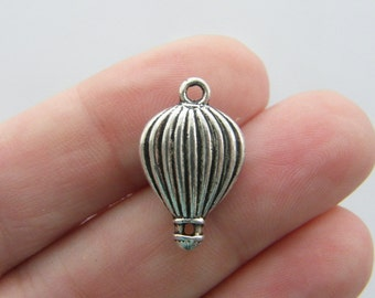 6 Hot air balloon charms antique silver tone TT34
