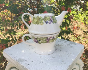 2 piece teapot and cup set, vintage Nantucket China, grape design