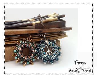 Beading Pattern, Donut Shaped, Right Angle Weave Pendant Beading Instructions, DIY Beaded Jewelry Beading Tutorial  PEACE