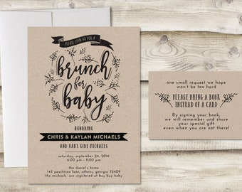 Baby Brunch Invitation with Book Insert Card, Brunch for Baby Shower Invitation, Baby Brunch Shower Invitation, Baby Shower Brunch Invite