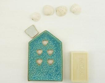 soap dish ceramic, blue soap dish, soap holder, draining soap dish, ceramic house