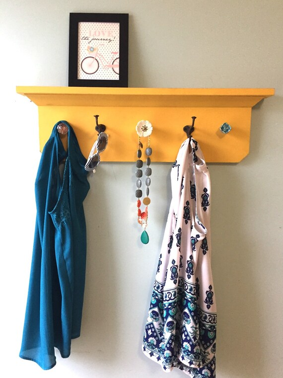 SALE Yellow distressed Coat Rack Shelf SALE