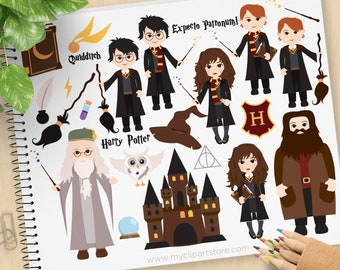 School of Wizardry Clipart, Wizards, Griffendor, Hogwarts castle clipart, fan art, magic, Commercial Use, Vector clip art, SVG Cut Files