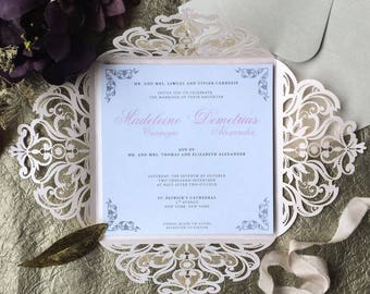 Blush Invitations - Pink Invitations - DIY Invitation - POCKET ONLY - Invitation Pocket - Laser Cut Invitation - Invitation Supplies - 50