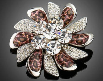 Valentines Day Gift, Broach, Broach Bouquet, Lapel Pin, Scarf Pin, Shawl Pin, Leopard Windmill White Gold Plated Pin Brooch for Women Ladies