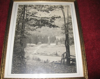 "ANTIQUE PHOTOGRAPH Country Scene 9 1/4"" x 11"" Framed In Goldtone Wood Frame Matted In White With Silver Inner Border"