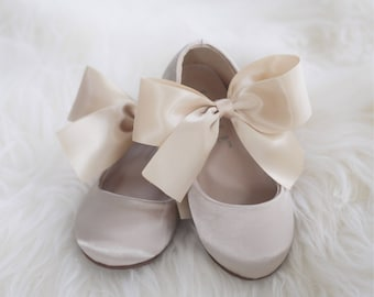 Champagne shoes etsy girls champagne satin shoes maryjane with gold satin bow for flower girl shoes baptism shoes and christening mightylinksfo