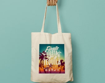 "LUISA Swag Bag Custom Canvas Tote ""Fiesta Siesta Tequila Repeat"" for Mexican Wedding"