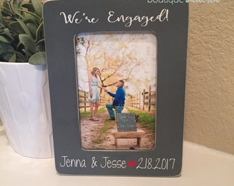Engagement Picture Frame Engagement Gift She Said Yes Frame Personalized Wedding Frame Announcement Picture Frame Bride To Be Gift