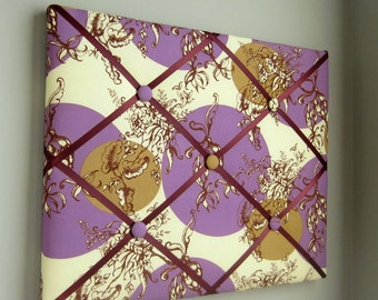 "11""x14"" French Memory Board or Bow Holder Cream Brown Purple Treetop Fancy"