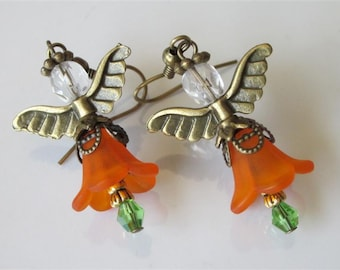 Orange Angel Earrings Lucite Flower Beaded Angel Small Dangle Earrings Handmade Jewelry Orange Fairy Bridesmaid Earrings Wedding Jewelry