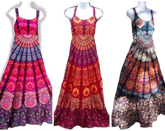 Hippie Dress, Patchwork Dress, Boho Dress Hippie Clothing Spinner Batik Dress, Plus Size festival dress blue Sun Dress, 2X Hippie dress