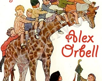 Going Up - Kids on a Giraffe -  ADHESIVE Bookplates -  Personalized Bookplates  - Vintage Bookplate - STICKERS