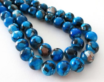 """Blue Marbled Porcelain Beads - Smooth Round Beads - Drilled Natural Stone Beads - 12mm - 16"""" Strand - Diy Necklace Beads - Jewelry Making"""