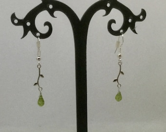 925 Sterling silver and Peridot leaf earrings