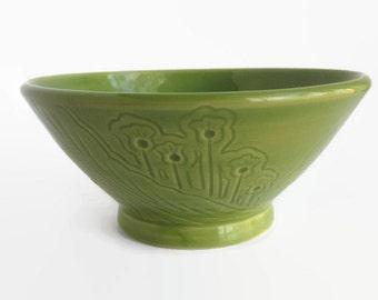 Unique Bowl, Soup Bowl, Green Bowl, Ceramic Bowl with Unique carved designs - Cereal Bowl, Green Bowl, Green Cereal Bowl, Bowl, Chili Bowl
