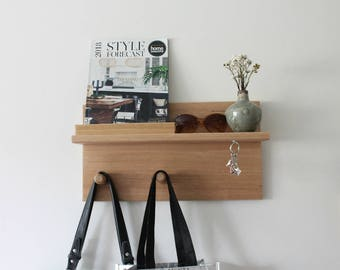 Floating Shelf - Coat Rack - Key Holder - Wall Coat Rack - Mail Organiser - Entryway Organiser - Key Rack - Key Holder for Wall