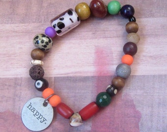 "Inspiration ""happy"" Beaded Stretch Bracelet with Assorted Beads"
