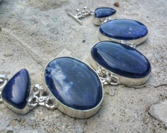 Bracelet sodalite 925 Silver, calming stone to control over emotions