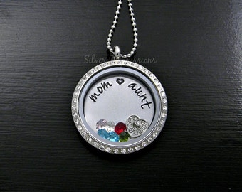 Floating Locket / Mom Aunt Locket / Memory Necklace / Personalized Hand Stamped Jewelry