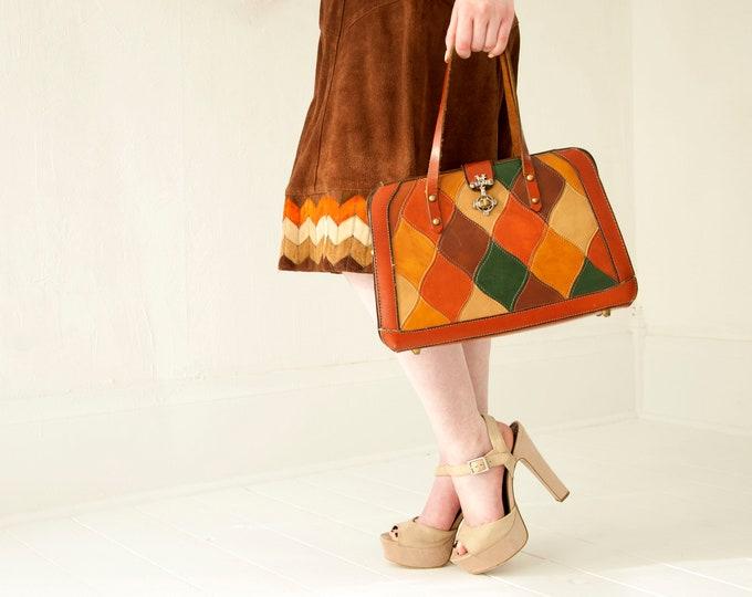 Vintage leather patchwork purse, large burnt orange green brown rust red, kelly handbag boho retro 1970s