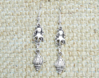 SALE - Octopus and Seashell Earrings