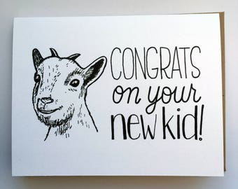 Congrats on Your New KID - Hand Lettered Greeting Card for Baby Shower