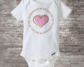 Girl's Will You Be My Godparents with Pink Heart Tee Shirt or Onesie 06062013b