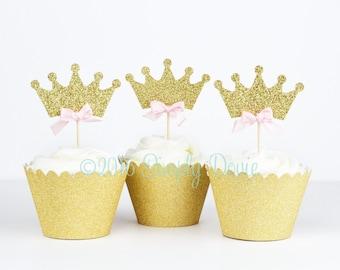 Gold Glitter Princess Crown Cupcake Topper Picks - Princess Birthday, Wedding Decorations, Party Decorations