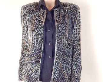 vintage beaded jacket, silk lined,  black silk, gold beads