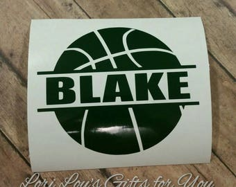 Basketball decal, Personalized basketball decal, basketbal name decal, custom basketball decal