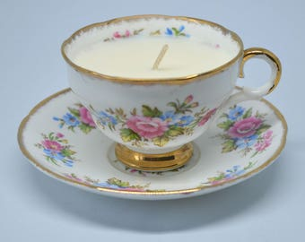 Vintage Teacup Candle **Vegan vanilla soy candle**