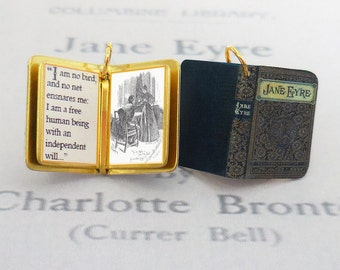 Jane Eyre by Charlotte Bronte - Miniature Book Shaped Charm Quote Pendant - for charm bracelet or necklace. Custom available!