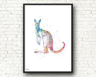 Kangaroo poster, animal illustration, wall decor, bedroom, living room, baby