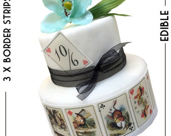 Mad Hatter Tea Party -Alice in Wonderland EDIBLE PLAYING CARDS | Deco icing paper | Cake cupcake toppers x 9